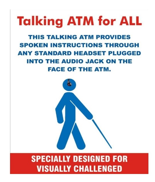 Talking ATM poster template circulated by IBA to all banks to be displayed to identify accessible ATM location