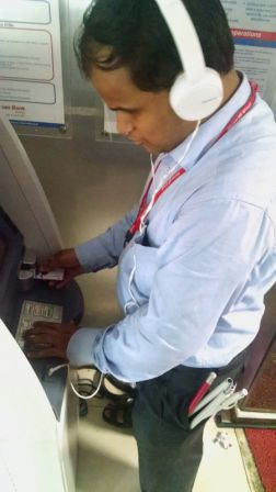 Ravi Thakur, a banker and a regular user of Union bank's Talking ATM installed at bank's Mumbai Head office building