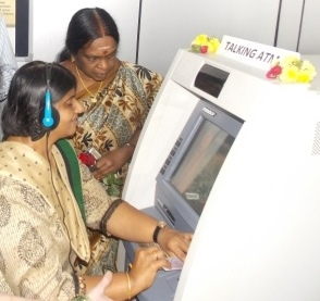 Madhu Singhal, Managing Trustee and Founder of Mitra Jyothi inaugurating Talking ATM installed near Mitra Jyothi, Bengaluru
