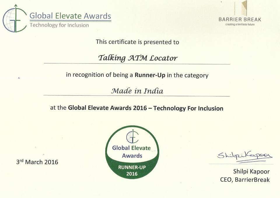 Global Elevate Award 2016 award certificate in the Category: 'Made in India' as a Runner-Up to Talking ATM Locator service